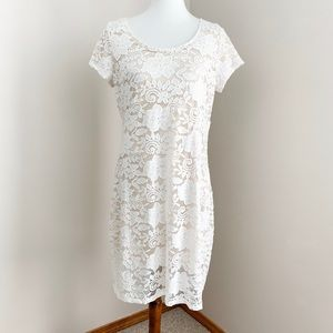 Tiana B White Lace Scoop Neck Short Sleeve Dress